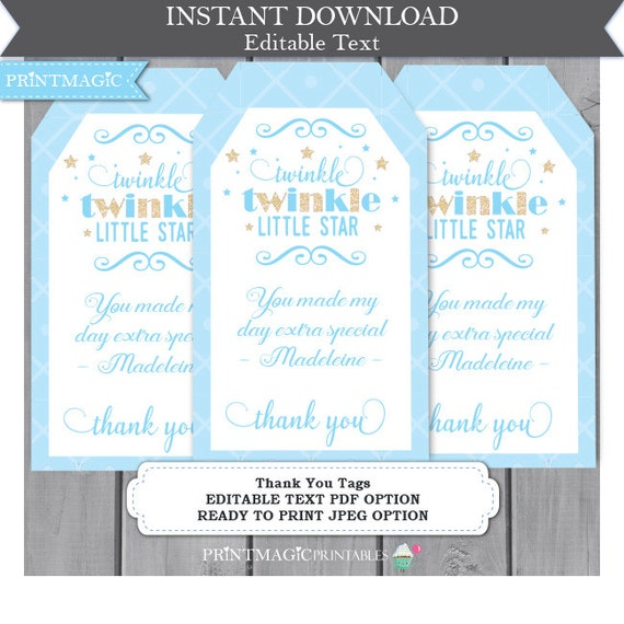 Blue Twinkle Twinkle Little Star Thank You Tags - Birthday Party Thank You - Boy Baby Shower Thank You- Editable Text - Instant Download