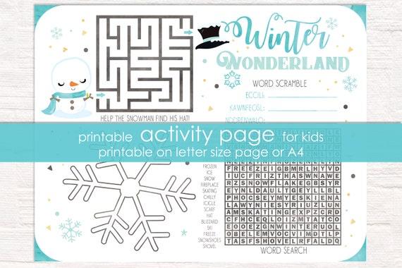 Blue Snowman Winter Wonderland Printable Activity - Winter Activity Sheet for Kids - Aqua Winter Wonderland Game - Instant Download