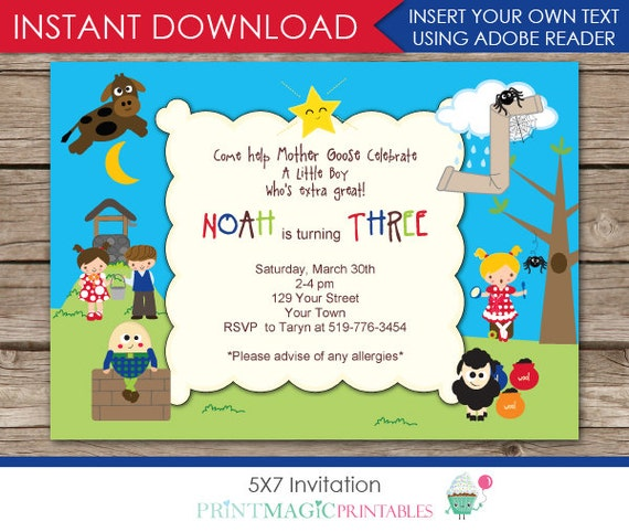 Nursery Rhyme Invitation - Nursery Rhyme Birthday - Fairytale Invitation- Instant Download - Personalize at home in Adobe Reader