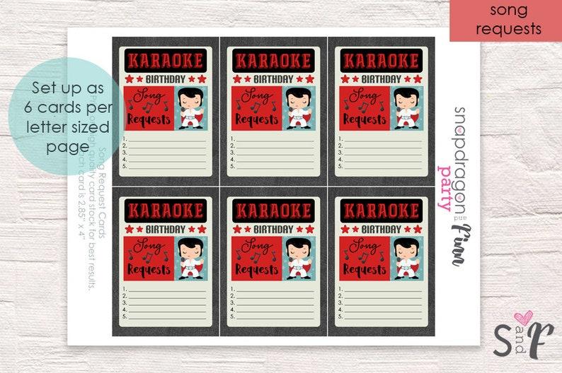 Printable Karaoke Song Request Cards - Karaoke Birthday Party - Karaoke  Party Song Requests - Instant Download