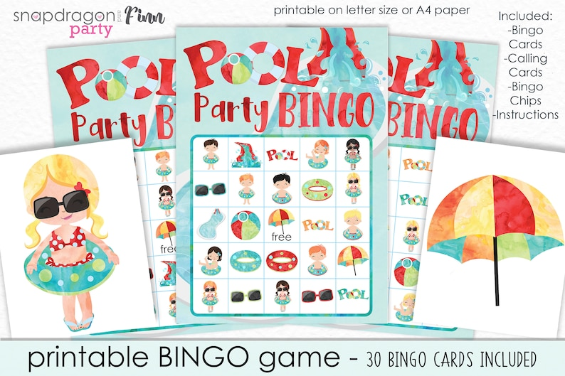 photo regarding Printable Bingo Chips known as Pool Occasion Bingo Printable Recreation - Printable Pool Occasion Recreation - Summer season Celebration Recreation - Summer months Bingo Recreation - Immediate Down load