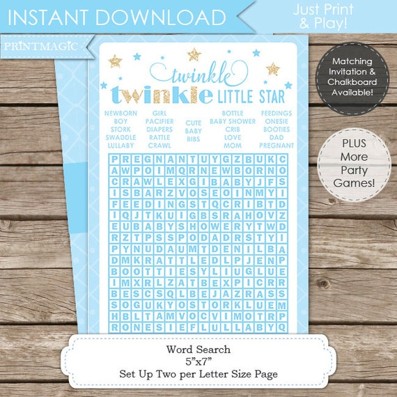 Blue Twinkle Twinkle Little Star Baby Shower Game - Instant Download - Twinkle Twinkle Baby Shower - Twinkle Star Baby Shower Word Search