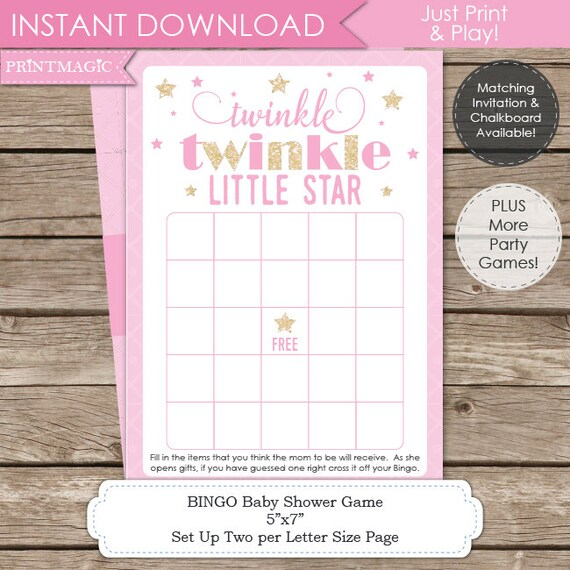 Twinkle Twinkle Little Star Baby Shower Game - Instant Download - Twinkle Twinkle Baby Shower - Twinkle Star Baby Shower Bingo Game