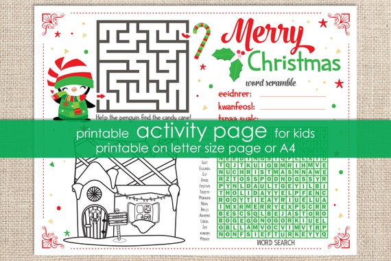 Christmas Printable Activity - Kids Christmas Game - Christmas Activity - Children's Activity for Christmas - Instant Download
