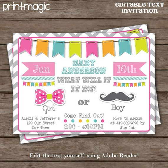 Gender Reveal Announcement Invitation - Gender Reveal Invitation- Baby Shower Invitation - Download & Personalize at home in Adobe Reader