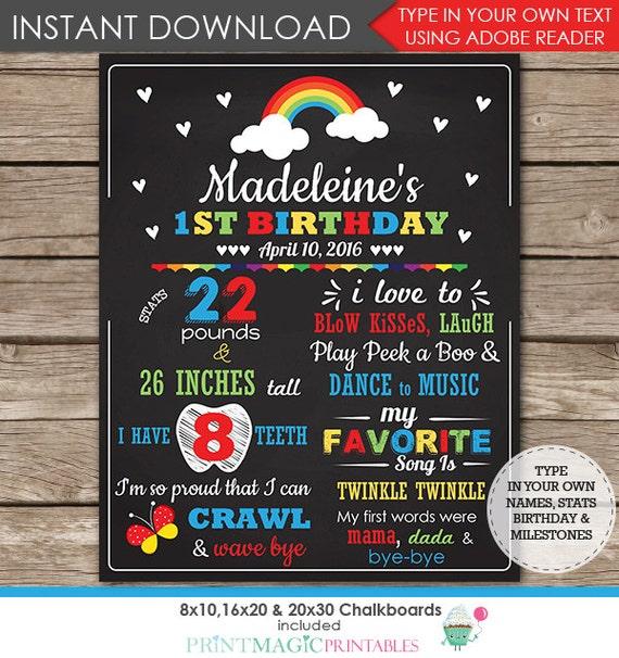 Rainbow 1st Birthday Chalkboard Poster - Rainbow Chalkboard - Rainbow Birthday Party - Instant Download & Edit in Adobe Reader at home
