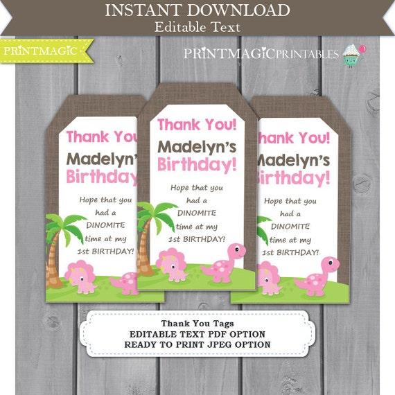 Pink Dinosaur Printable Birthday Party Thank You Tags - Dinosaur Favor Tag - Dinosaur Birthday Party - Dinosaur Thank You - Editable Text