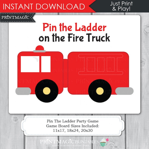 Pin the Ladder on the Fire Truck Printable Party Game - Fireman Birthday Party, Firetruck Birthday Party, Firetruck Party Game, Pin the Tail