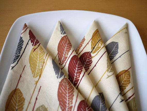 Leaf Print Cloth Dinner Napkins - in Warm Colors - Set of 4 - Holiday Gift, Wedding Gift, Housewarming Gift, Hostess Gift