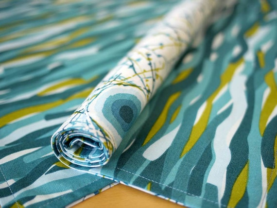 Blue Tremor Print Reversible Cloth Placemats from my Mineral Forest Collection of Fabrics