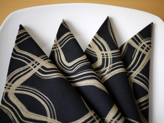 Black Petrified Print Cotton Dinner Napkins from my Mineral Forest Collection of Fabrics