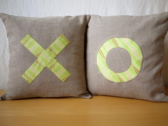 "XO Appliqué Linen Pillow Cover Set - Cadence Print - 16""x16"" - Valentine's Day Gift, Wedding Gift, Anniversary Gift"