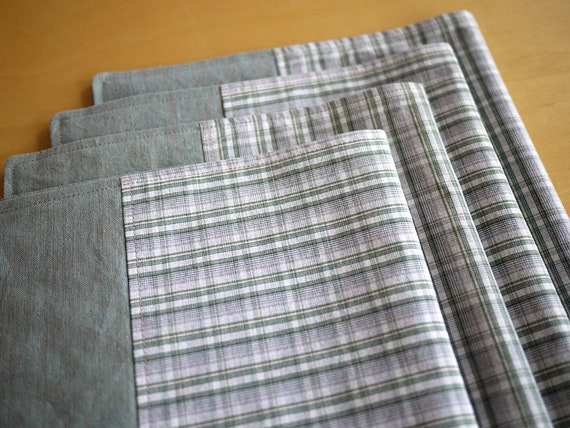 Linen Placemats Pieced with Repurposed Green-White Plaid Shirting. Set of 4. One-of-a-Kind Handmade Linen-Cotton Placemats.