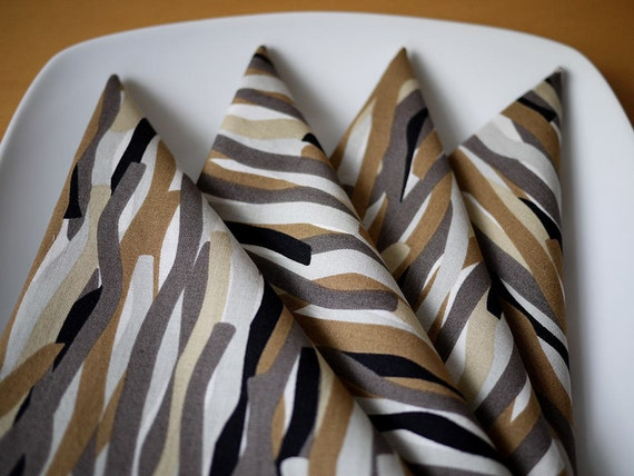 Tremor Print Cloth Dinner Napkins in Black and Tan from my Mineral Forest Collection of Fabrics