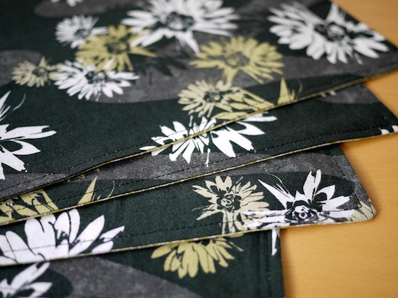 Cloth Placemats - Black Blossom Print - Set of 4 Cotton Placemats - Holiday Gift, Housewarming Gift, Wedding Gift, Hostess Gift