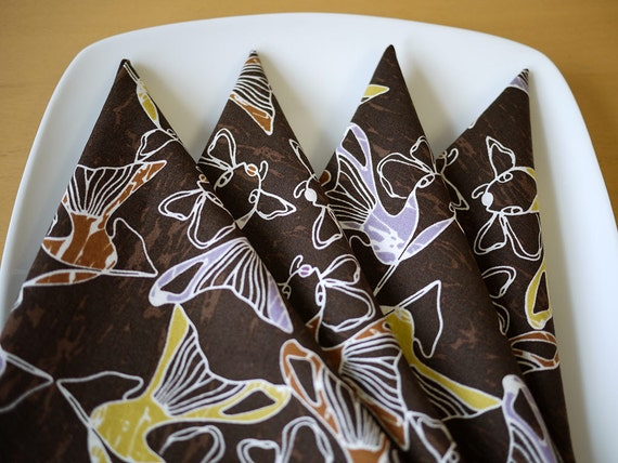 Cloth Dinner Napkins - Koi Print in Brown - Set of 4 - Holiday Gift, Wedding Gift, Housewarming Gift, Hostess Gift