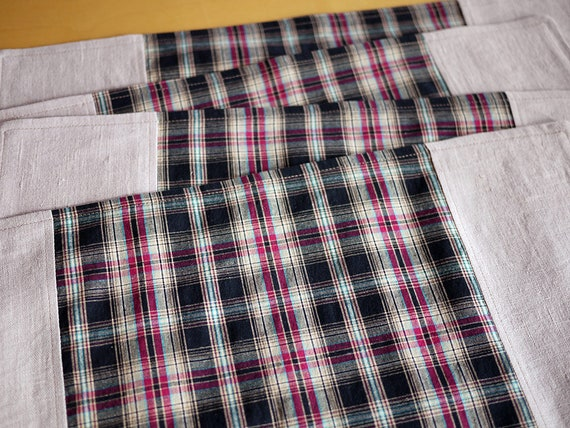 Linen Placemats Pieced with Repurposed Magenta-Black Plaid Shirting. Set of 4. One-of-a-Kind Handmade Linen-Cotton Placemats.