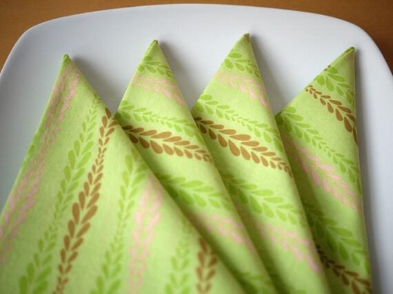 Mid-Century Modern Cloth Dinner Napkins - Light Green Print - Set of 4 Reusable Napkins - Housewarming Gift, Wedding Gift, Holiday Gift