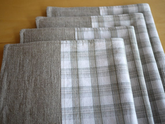 Linen Placemats Pieced with Repurposed Stone-White Plaid Shirting. Set of 4. One-of-a-Kind Handmade Linen-Cotton Placemats.