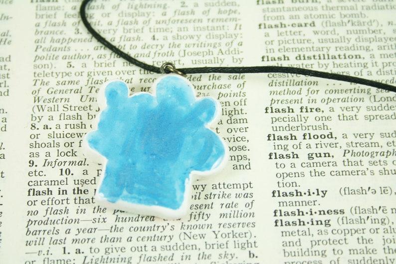 Whimsical Handmade Clay Pendant Necklace Glitter Rainbow Barfing Cloud Pendant
