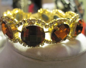 Vintage Brown Faceted Rhinestone Bracelet with Clear Rhinestone Accents