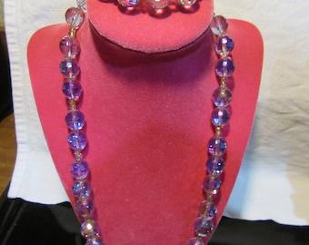 Vintage Purple Cystal Faceted Aurora Borealis Demi Parure Set