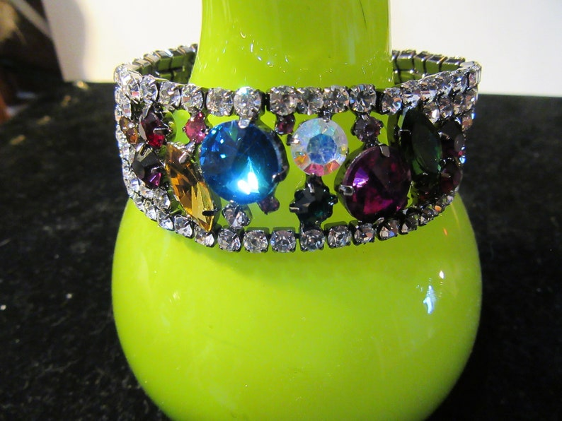 Rainbow Colored Glass Rivoli Rhinestone Pronged Set Bracelet