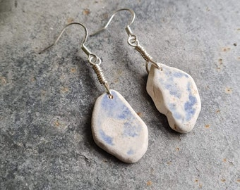 Beautiful sea pottery earrings Vintage and historic earrings Unique gift Genuine Caribbean sea pottery jewelry
