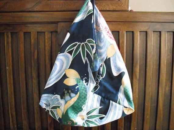 with blue tsuru Yukata patchwork bag