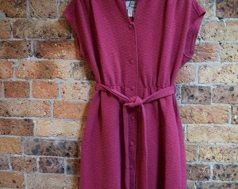 Vintage Raspberry Purple Knee Length Dress Size 16 Large