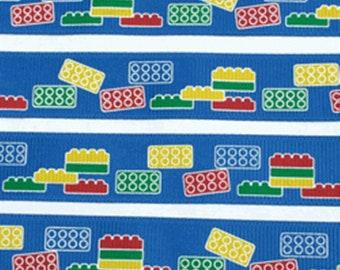 "LEGO Building Blocks on blue 3/4"" grosgrain ribbon by 1 yard or 36 inches"