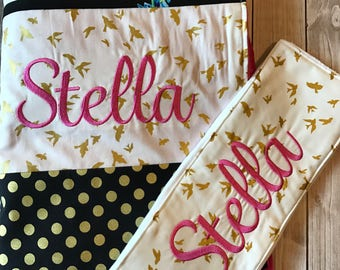 Personalized Girls Patchwork Blanket, Hot Pink and Black Girft Set