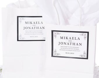 Wedding Welcome Bags, Wedding Guest Gifts, Hotel Welcome Bags, Elegant Wedding Stickers, Out of Town Welcome Bags, Paper Bags, #wdiB-195