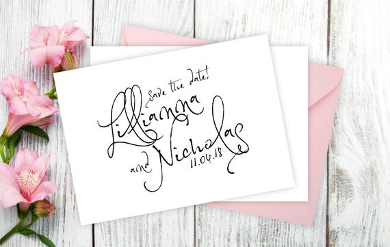 """Save The Date Cards - 5"""" x 7"""" Calligraphy Wedding Announcement Cards - Save The Dates - Personalized Save the Date - Photo Cards - #satd-273"""