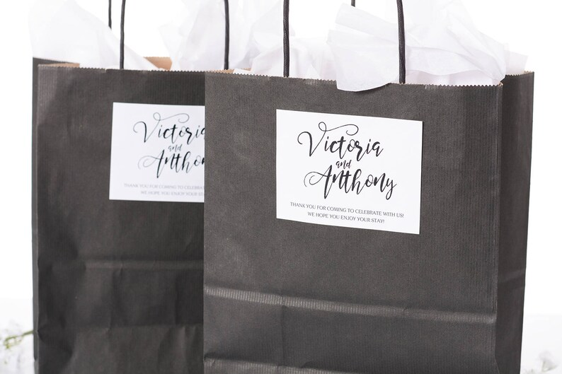 Wedding Hotel Welcome Bags Wedding Favor Bags Calligraphy image 1