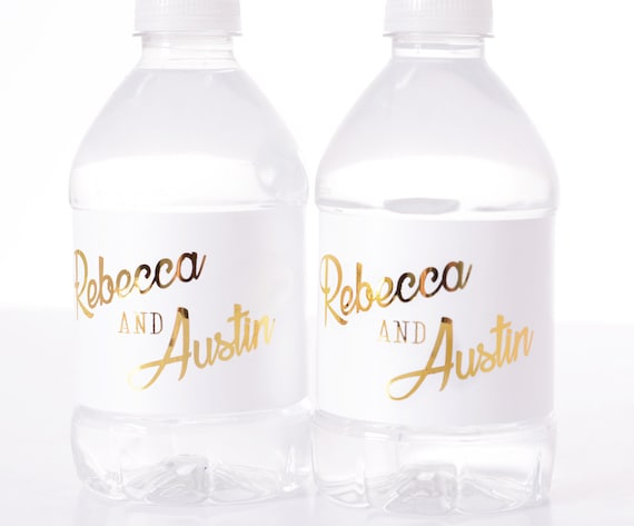Wedding Water Bottle Labels.Metallic Foil Wedding Water Bottle Labels Real Metallic Water Bottle Labels Shiny Wedding Water Bottle Labels Personalized