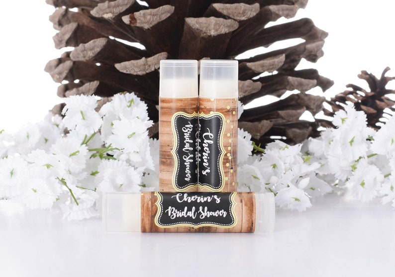 Rustic Vintage Wedding Theme Bridal Shower Lip Balms and Labels Customized Chapstick Labels Vintage Wedding Chapstick Favors