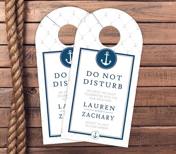 Do Not Disturb Nautical Wedding Door Hangers Guest Gift Hotel Box Wedding Favor Nautical Wedding Hotel Door Hangers #dhrI-122