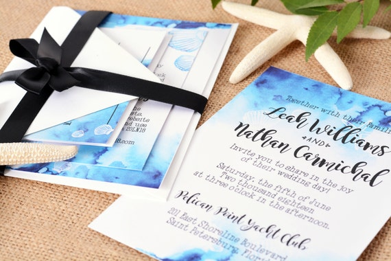 Nautical Themed Wedding Invitation Suite Deposit Listing to Begin Design Process!