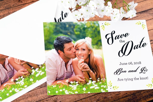 """Save The Date Cards - 5"""" x 7"""" Formal Foliage Wedding Announcement Cards - Save The Dates - Custom Save the Dates - Photo Cards - #satd-153"""