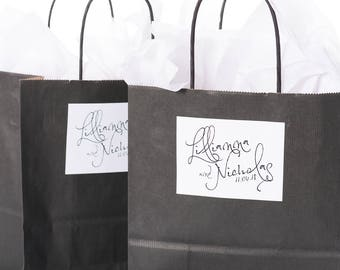 Wedding Favor Bags, Wedding Gift Bags, Hotel Welcome Bags, Wedding Guest Welcome Bags, Thank You Bags, Custom Welcome Stickers, #wdiB-273