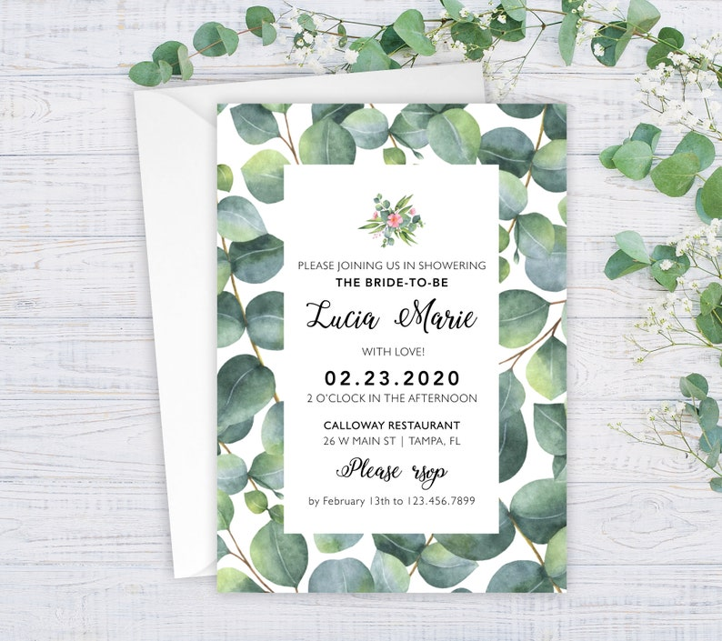 Bridal Brunch Invitation Eucalyptus Bridal Shower Invitation Shower Invite Eucalyptus Invitation #wdiBI-272