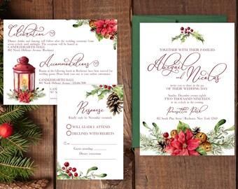 SAMPLE Wedding Invitation Suite -  Poinsettia Wedding Invite Suite SAMPLE - Custom Winter Wedding Invitations - Christmas Wedding Invitation