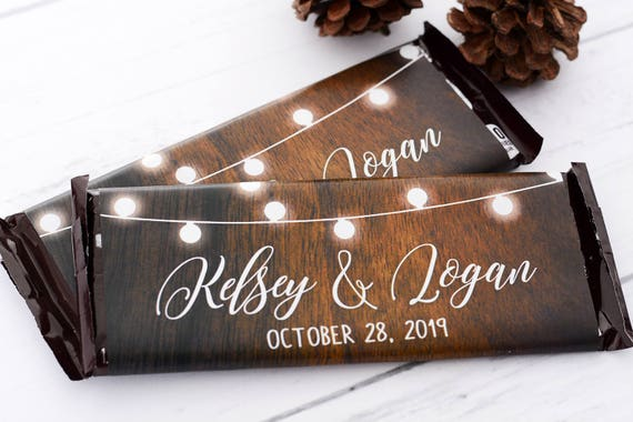 25 Metallic Foil Chocolate Bar WRAPPERS Wedding Candy Wrappers Wedding Chocolate Bar Labels #whb-103 Custom Candy Stickers