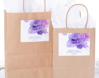 Wedding Welcome Gift Bags, Out of Town Guest Bags, Watercolor Wedding Stickers, Custom Gift Bags, Paper Gift Bags, Wedding Gifts #wdiB-254