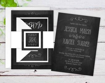 Wedding Invitations - DEPOSIT TO START Chalkboard Suite - Custom Wedding Invites - Vintage Wedding Invitations - Cute Wedding - #wdi-277