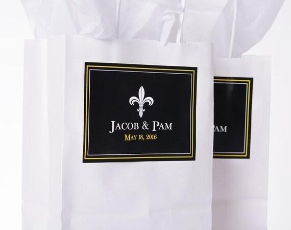 Fleur de Lis Wedding Favor Bags - 25 Wedding Guest Bags AND Labels ...