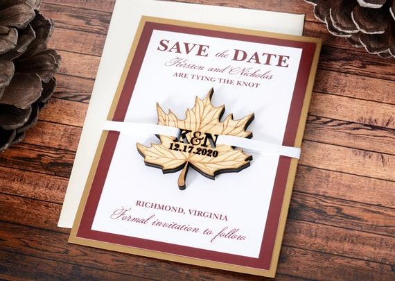 autumn save the date save the date magnet laser cut wedding magnet