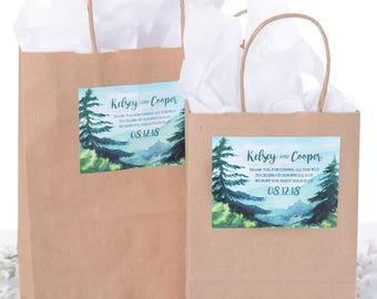 Mountain Wedding Stickers, Wedding Welcome Bags, Mountain Wedding Theme Favor Bags, Hotel Welcome Bags, Wedding Guest Gifts, #wdiB-249