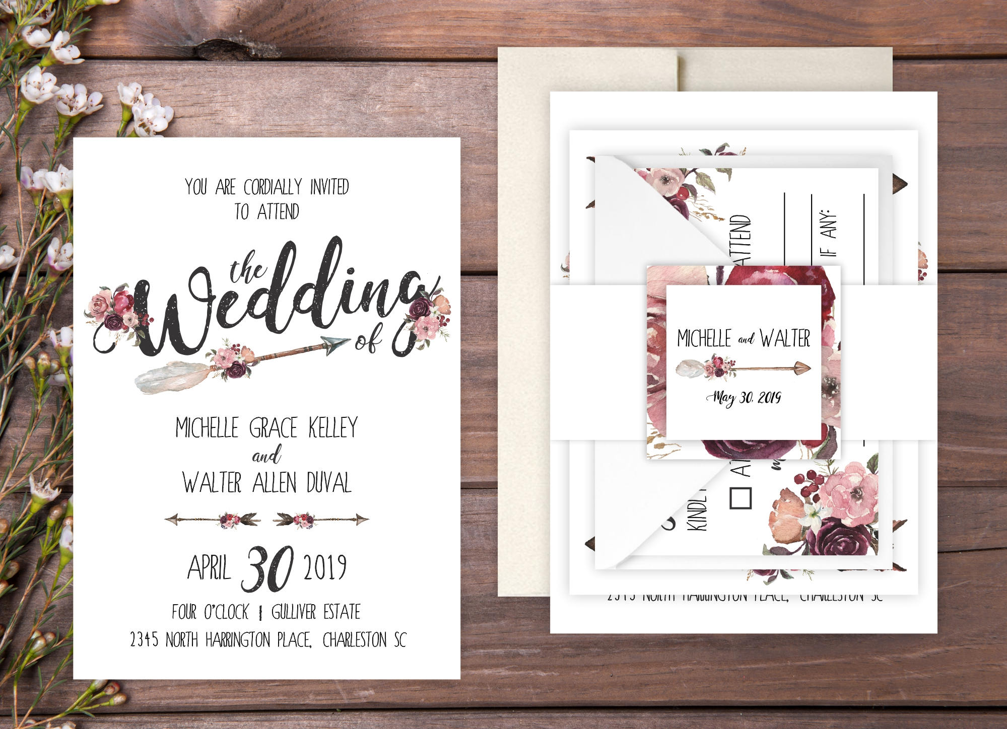 How To Start A Wedding Invitation: Wedding Invitations DEPOSIT TO START Bohemian Garden Suite